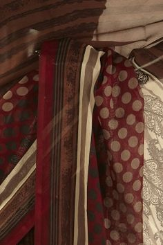 chiffon light beige chocolate brown maroon saree with blouse