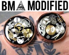 BMA Modified Junkyard Steampunk Watch Parts Plugs 00g 9.5mm Silver by BMAMOD on Etsy