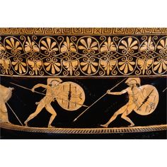 A detail of an Attic red-figure bowl (500-480 BC) depicting Achilles fighting Hektor in the Trojan War. (British Museum, London).