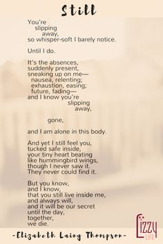 A comforting poem for mothers who have suffered miscarriage, in honor of Infant and Pregnancy Loss Remembrance Day.