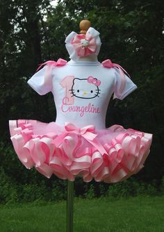 Hello Kitty Ribbon Trim Tutu Set in Pink  by lilabbehandmade, $62.99