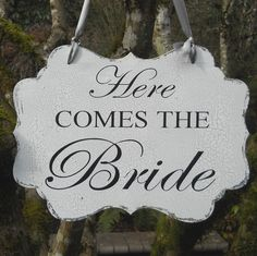 REVERSIBLE WEDDING SIGN Here Comes the Bride, Happily Ever After for Flower Girl, Ring Bearer Vintage Style