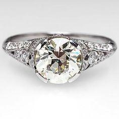 Old European Diamond Engagement Ring Platinum Antique Reproduction