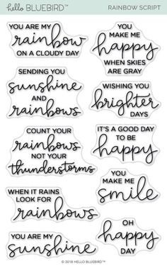 This is a 4 x 6 inch clear photopolymer stamp set. For reference, the sentiment oh happy day measures approximately x inches. Ideas Scrapbook, Scrapbook Quotes, Scrapbook Titles, Scrapbook Stickers, Quotes Rainbow, Rainbow Sayings, Scrapbooking Photo, Vie Motivation, Fitness Exercises