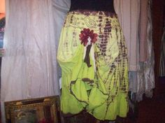 Lime Green and Chocolate cotton skirt upcycled by UpcycledRose, $25.00