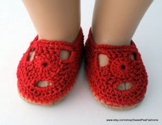 American Girl Red Crocheted Shoes by SweetPeaFashions on Etsy, $8.50