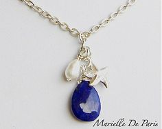 Royal blue Lapis Lazuli, Baroque cultured Pearl & Sterling Silver Charm Necklace, Lapis necklace,Summer jewelry, Lapis jewelry, blue stone