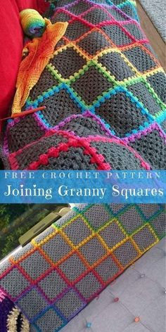 Joining granny squares, and that color pair is so nice; direct opposite of mine