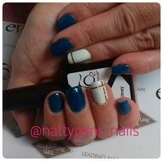 Blue and white nails Blue And White Nails, Bio Sculpture Gel, Nail Art, Beauty, Nail Arts, Beauty Illustration, Nail Art Designs