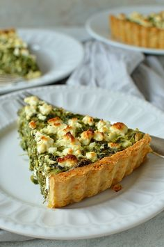 Spinach, ricotta & feta quiche - Crisp, parmesan shortcrust pastry filled with spinach, ricotta and feta cheese, all the flavours of spanakopita in a tart.