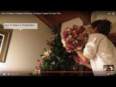 How To Make A Christmas Tree Bow Topper With 2 Ribbons | Christmas Mosaic