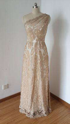 2015 One-shoulder Dark Champagne Lace Ivory Lining von DressCulture