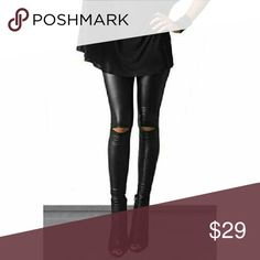 """🎁🎗RIPPED☃🎄🎁FAUX LEATHER🎁✨ """"SEXXY LEGGINGS""""🎄 FAUX KNEE CUT  SEXY LEGGINGS Hi waist Stretch to them  92%polyester 8 %Spandex MUST HAVES,!! SLEEK  ,SEXY,LOOK Faux leather!! Small 0/2 will fit to about 4  Medium 4/6 will fit up to about almost 8 8/10 will fit up to about 12 Pants Leggings"""