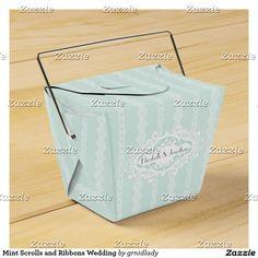 Mint Scrolls and Ribbons Wedding Favor Box