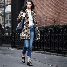 """31 Perfect Looks To Copy This January #refinery29  http://www.refinery29.com/january-outfit-of-the-day-ideas#slide-30  Never forget: Leopard will always be a neutral.Brooks Brothers top, Victoria Beckham jeans, Loxley England bag.Topshop Leopard Print Faux Fur Swing Coat, $170, available at <a href=""""http://shop.nordstrom.com/s/contrast-collar-faux-fur-animal-swing-coat/4166194?cm_mmc=Google_Product_Ads_pla_online-_-datafeed-_-women%3Aouterwear%3Ajacket_coat-_-5034..."""