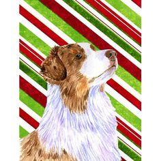 Caroline's Treasures Australian Shepherd Candy Cane Holiday Christmas 2-Sided Garden Flag
