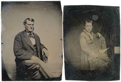 TWO c. 1870 Studio Tintype Portraits