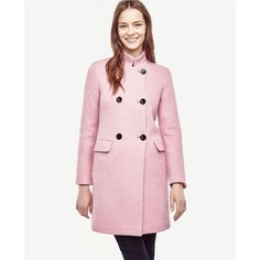 Blush Statement Coat ($60) ❤ liked on Polyvore featuring outerwear, coats, stand collar coat, pink double breasted coat, double breasted bouclé coat, pink coat and long pink coat