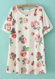 Multicolor Flowers Round Neck Short Sleeve Cotton Dress