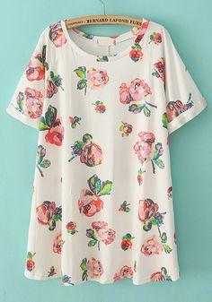 Multicolor Flowers Round Neck Short Sleeve Cotton Dress