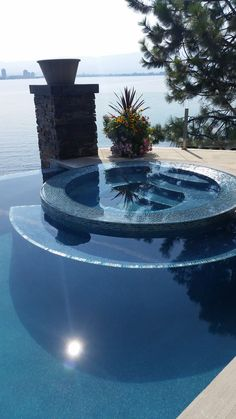 The beauty was finished in Water Bead Blue!! #pebbletec #vancouver #canada #bestpools