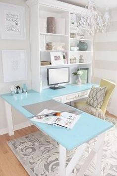 Contemporary Home Office Design Ideas - Search photos of contemporary office. Discover motivation for your trendy home office design with ideas for style, storage space and furniture. Home Office Space, Home Office Desks, Desk Space, Office Spaces, Office Setup, Future Office, Office Chic, Work Spaces, Corner Office