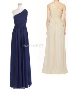 Un- épaule,, complet- longueur, bleu marine, côté fermeture éclair cachée en mousseline de soie robe de demoiselle d'honneur, robe de soirée de mariage