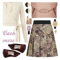 """OOTD: Cashmere"" by petalp ❤ liked on Polyvore featuring Dolce&Gabbana, Givenchy, Miu Miu, Olivia Burton, Miss Selfridge, tarte, Sally Hansen, Virtue London, outfit and skirt"