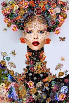 by Tina Cassati Floral Fashion, Fashion Art, Arte Floral, Art Abstrait, Art And Illustration, Illustrations, Face Art, Art World, Fantasy Art