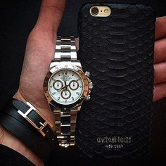 Rolex Daytona x Michael Louis Black Python iPhone Case  Courtesy of @Laurent.Oyster by _thewatchgallery_