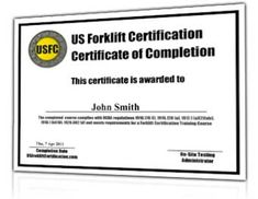 Osha compliant forklift training and operator for H2s certification card template