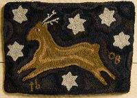 """Hooked Rug ... Silent Night ... By Tish Bachleda ... 22.5"""" x 15.5"""" ... www.thetweedweasel.com Hook Punch, Rug Patterns, Rug Ideas, Penny Rugs, Silent Night, Punch Needle, Rug Hooking, Goat, Reindeer"""