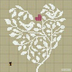 Cute heart with vines and birds