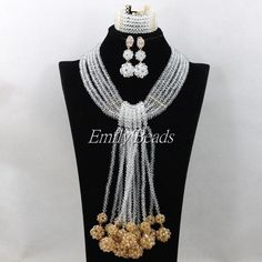 2016 Latest African Bridal Beads Jewelry Sets Clear White Nigerian Wedding Indian Crystal Long Beads Necklace Set AIJ781