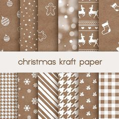 digital christmas paper, kraft paper background