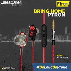 c5bb3d5d3ef PTron Boom 4D Earphone Deep Bass Stereo Wired Headphone With Mic For All  Smartphones (Red/Black)