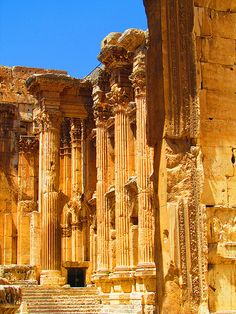 Temple of Bacchus, Baalbek (بعلبك), Located in the astrogeographical constellation of the air sign Libra, that stands for dancing and Leo that stands for pleasure and sexuality.