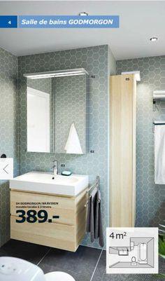 Meuble lavabo à 2 tiroirs Godmorgon/Braviken, 389 euros, 82 x 49 cm, H68 cm. Armoire miroir Godmorgon à 2 portes, 299 euros, 80 x 14 cm, H96 cm. Colonne Godmorgon, 199 euros, 40 x 30 cm, H192.