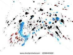Abstract grunge gouache painting background of blue, black and red color.