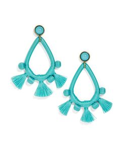 Add a pop of fun color with a duo of thread-wrapped statement earrings.