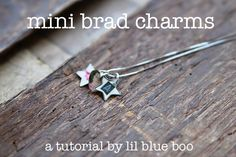 charm jewelry using brads and embossing powder.