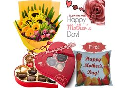 """Mother's Day 012 (Php 3,900) 6 pcs Sunflower in a bouquet arrangement. Butlers Red Velvet Keepsake Heart Box With 7  Assorted  Irish Chocolates 105g Free """"Happy Mother's Day"""" Pillow"""
