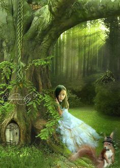 The Enchanted Wood. Is she waiting for the fairies to come out of their little wood fairy house?