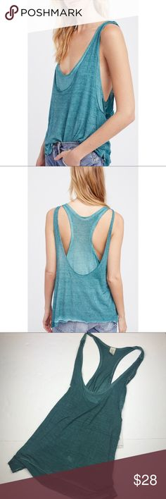 "NWT! Free People ""We the Free"" Teal Karmen Tank. NWT! • Laid back and cute, lightweight tank • Dual layer with cool and comfy cut • Free People • 70% rayon & 30% linen • Racerback • Distressed and bleached design • Ask all questions before purchasing! • Size medium. Free People Tops Tank Tops"