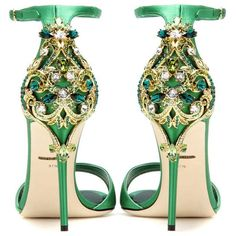 Dolce & Gabbana Crystal-Embellished Satin Sandals (€2.345) ❤ liked on Polyvore featuring shoes, sandals, crystal embellished sandals, dolce gabbana shoes, green satin shoes, satin sandals and green sandals