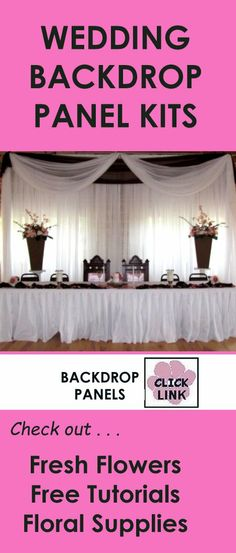 DIY Kits for creating stunning wedding backdrops, celing draping and table decor.  See free flower tutorials and buy professional floral supply products.