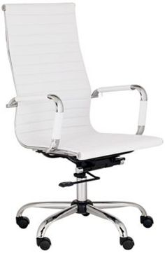 8 White Leather High Back Swivel Office Chair - the dorms have cheap chairs and yes you can bring your own- this is sweet and stylish #momselect and #backtoschool