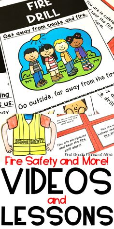 Videos links and lessons with anchor chart printables and crafts with differentiated writing activities for primary students to learn about fire safety drills and other important drills! Best for preschool, kindergarten, first grade, second grade.