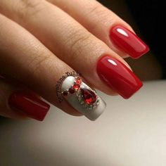 Evening dress nails, Evening nails by gel polish, Red and white nails, Red gel polish, Two-color nails
