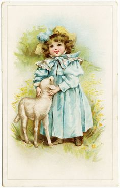 Free freebie vintage printable girl and lamb Easter